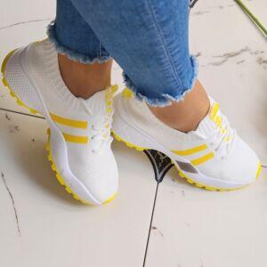 Citrom-fehér hálós cipő