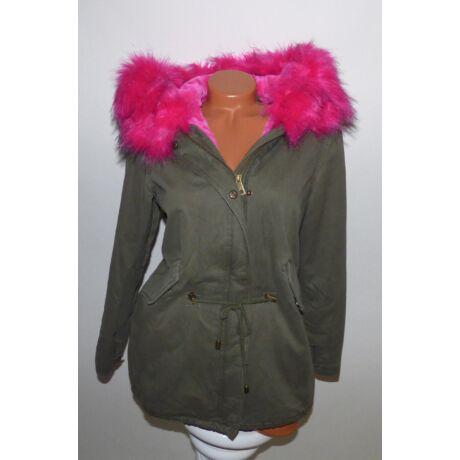 Katona-zöld kabát rózsaszín szőrmével és béléssel - Dzseki   Kabát ... 6b2ba7c35d