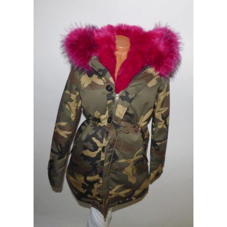 e54991cde9 Terepmintás kabát rózsaszín szőrmével - Dzseki / Kabát - Luna ...