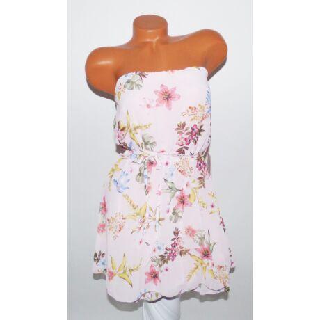 57c7063211 Pánt nélküli virágmintás ruha + öv - Ruha - Luna Gardrobe Női ruha ...