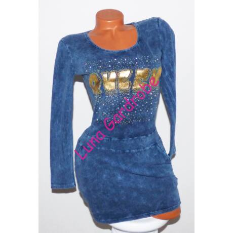 Queen feliratos farmerhatású ruha - Tunika - Luna Gardrobe Női ruha ... 37d4849fe7