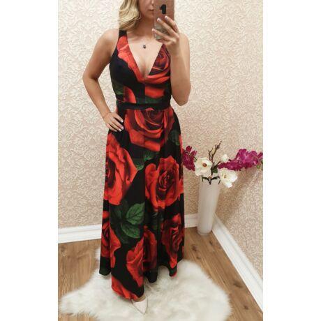 1e6b3674fa V kivágású rózsás maxi-ruha - Ruha - Luna Gardrobe Női ruha ...