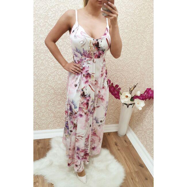 Virágmintás, hátán fűzős maxi -ruha
