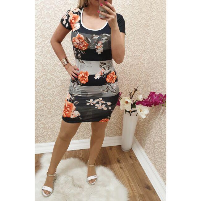 Csíkos virágmintás ruha