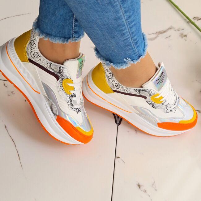 Neon narancs, kígyómintás magastalpú cipő