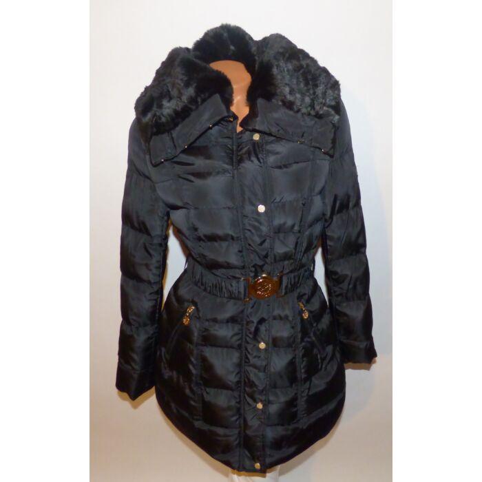 Hosszított nyakánál szőrmés kabát + öv - AKCIÓS Termékek - Luna ... 644ee474c2