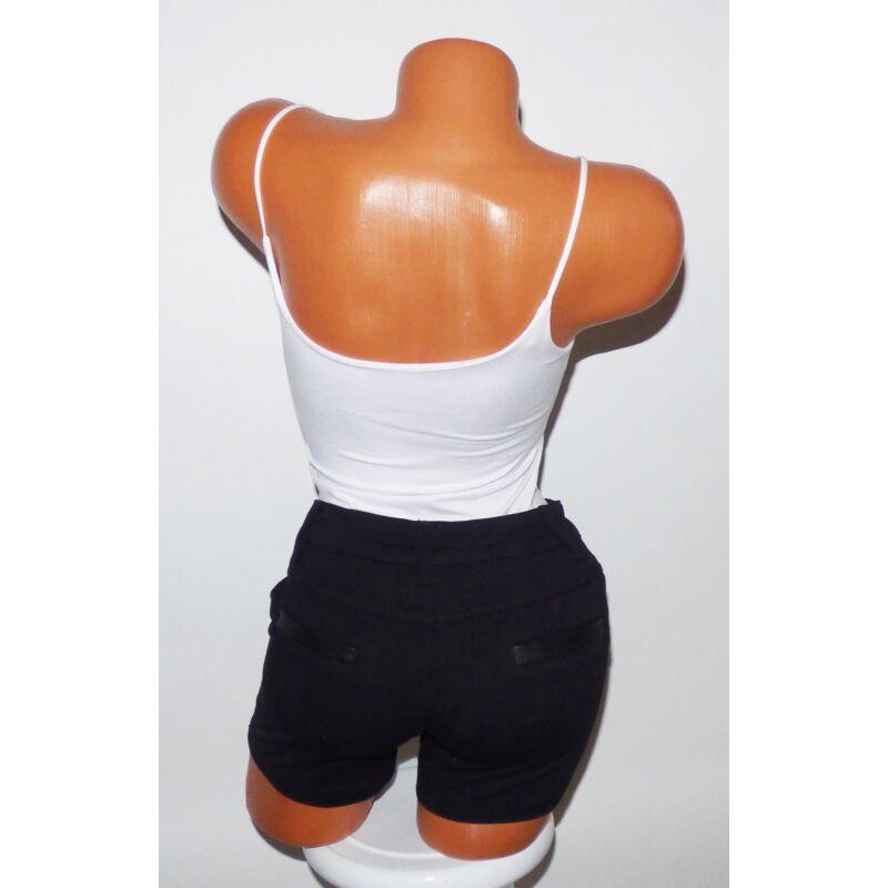 Fekete bőrbetétes rövidnadrág