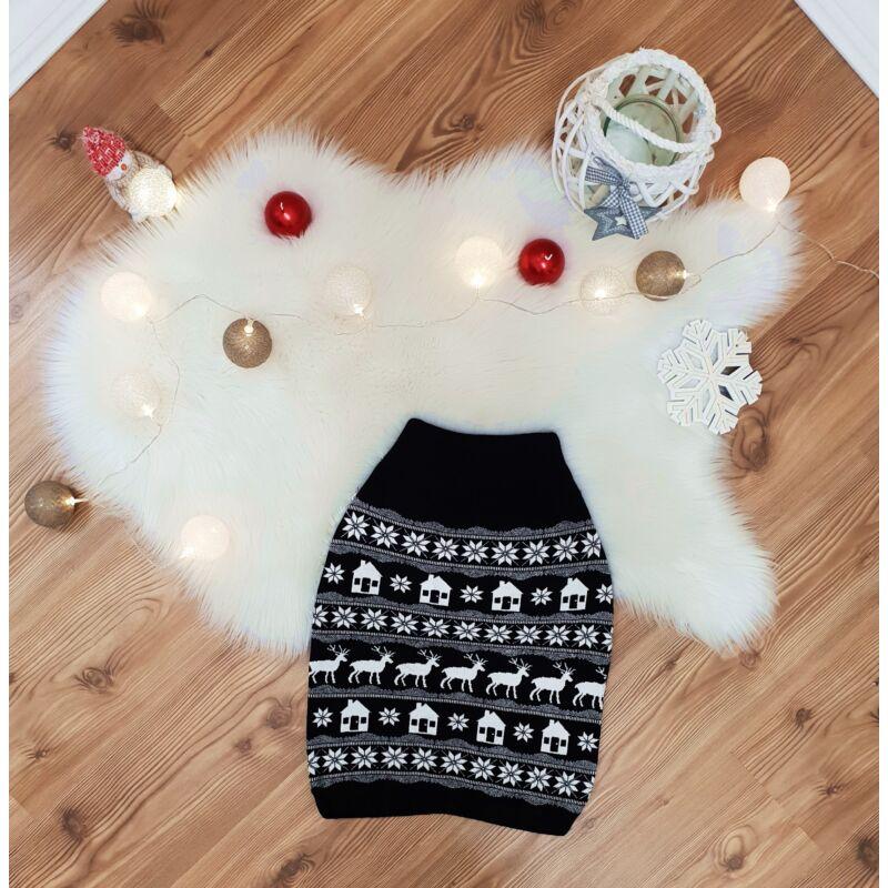 Rénszarvas mintás, kötött karácsonyi szoknya