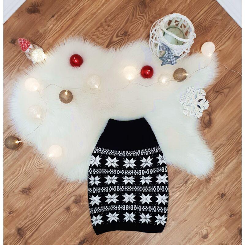 Hópehely mintás, kötött karácsonyi szoknya