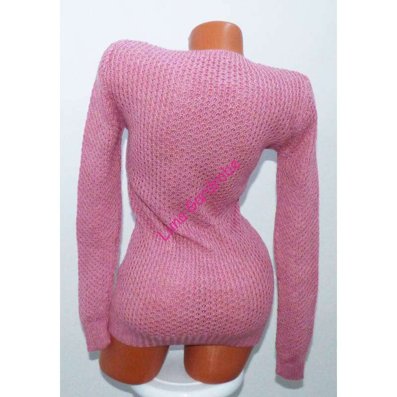 Fonott mintás, kötött pulóver