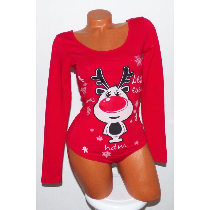 Rénszarvas mintás karácsonyi body