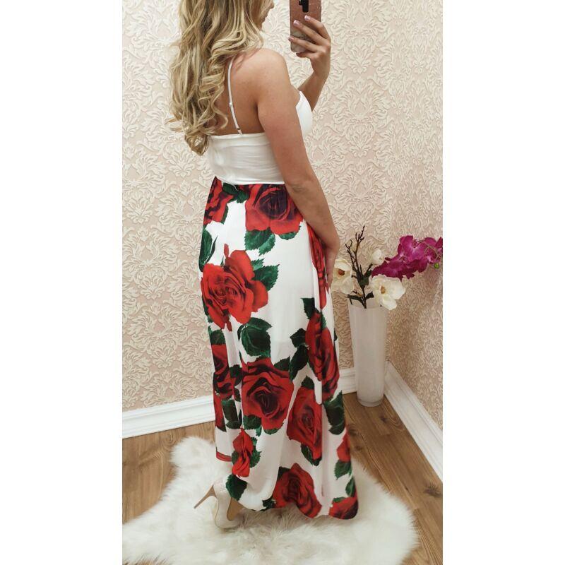 Virágmintás, felsliccelt maxi-ruha