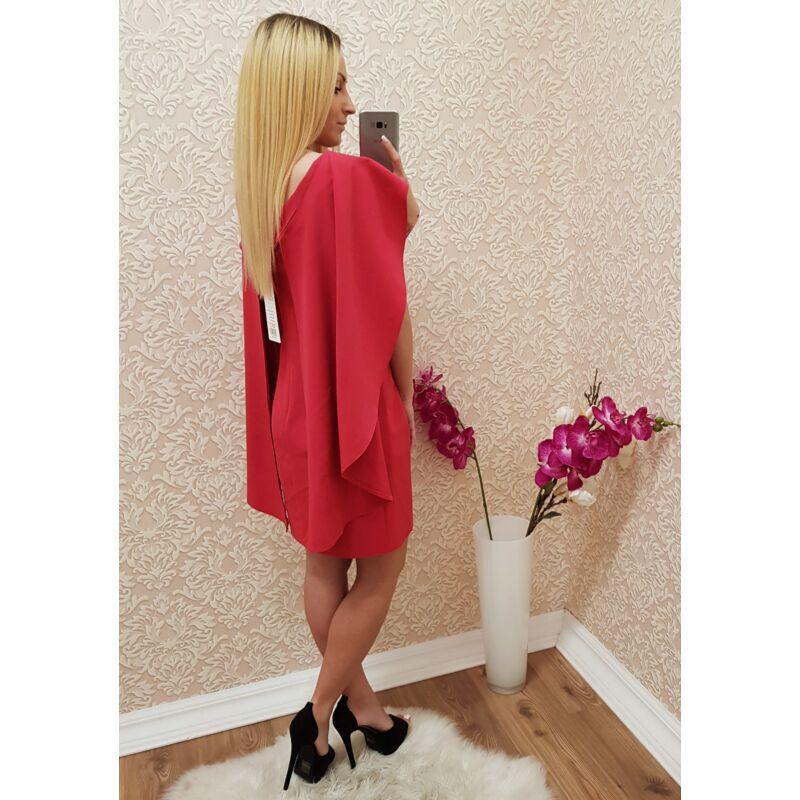Nyakánál strasszos elegáns pink ruha