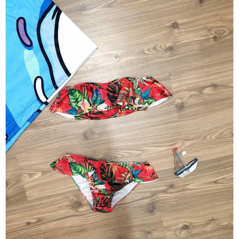 Virágmintás, fodros bikini