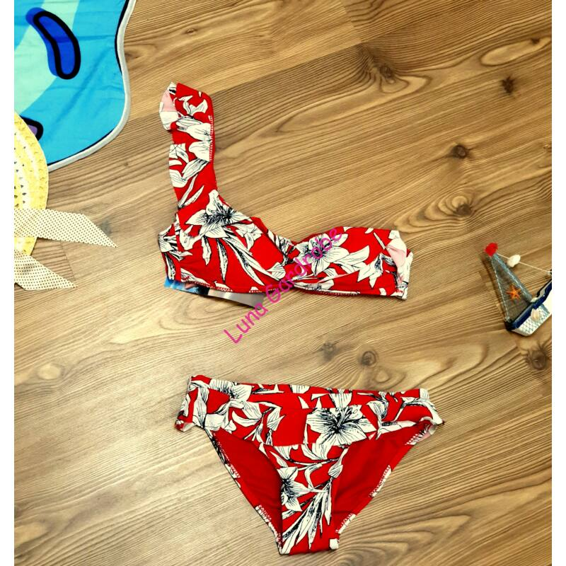 Virágmintás, félvállas, fodros bikini