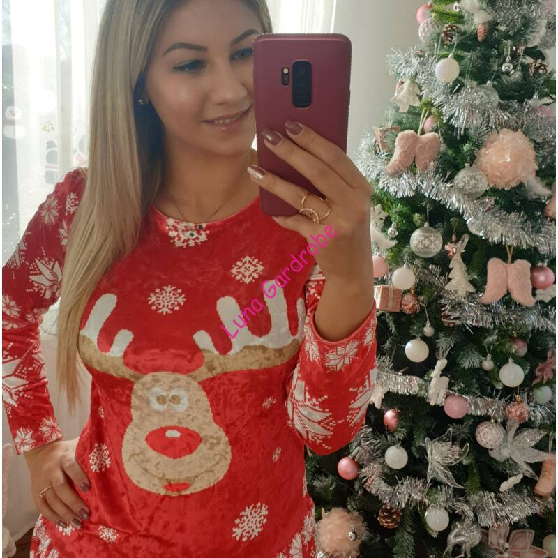 Cuki szarvas mintás karácsonyi ruha
