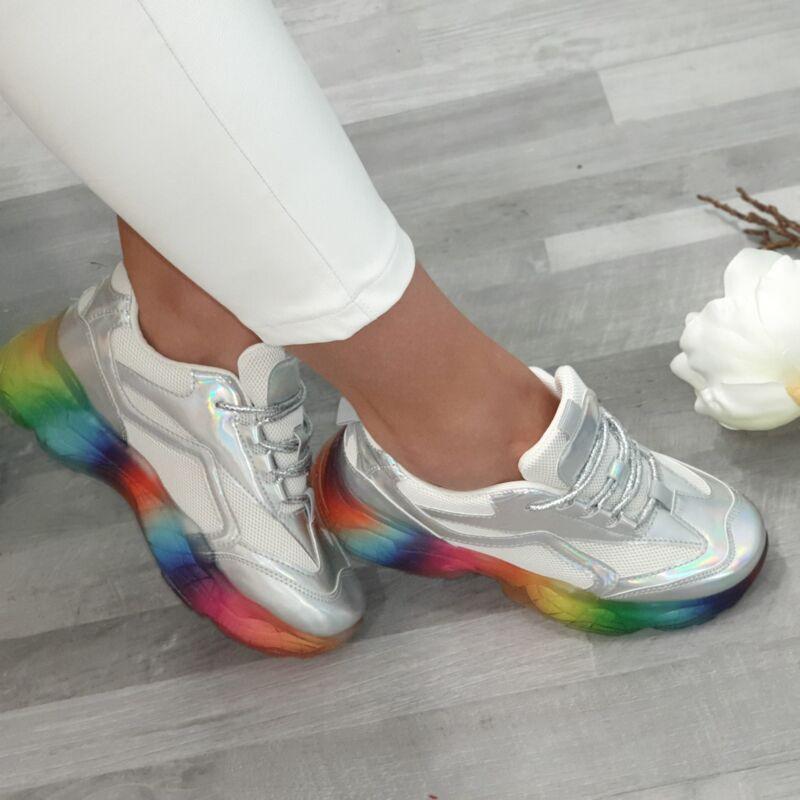 Vagány színes talpú, hologramos cipő