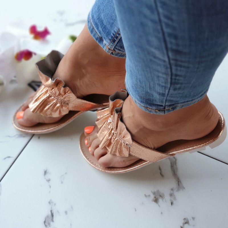 Rosegold fodros papucs