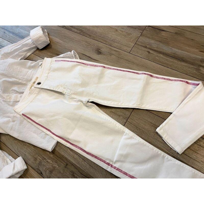 Magasított derekú, oldalán csillogós csíkos nadrág