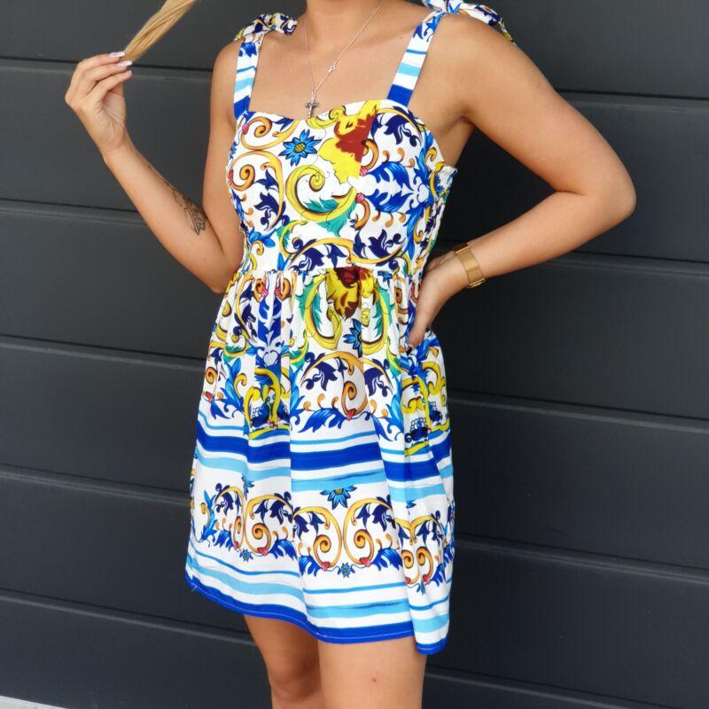 Vállán megkötős, mintás nyári ruha
