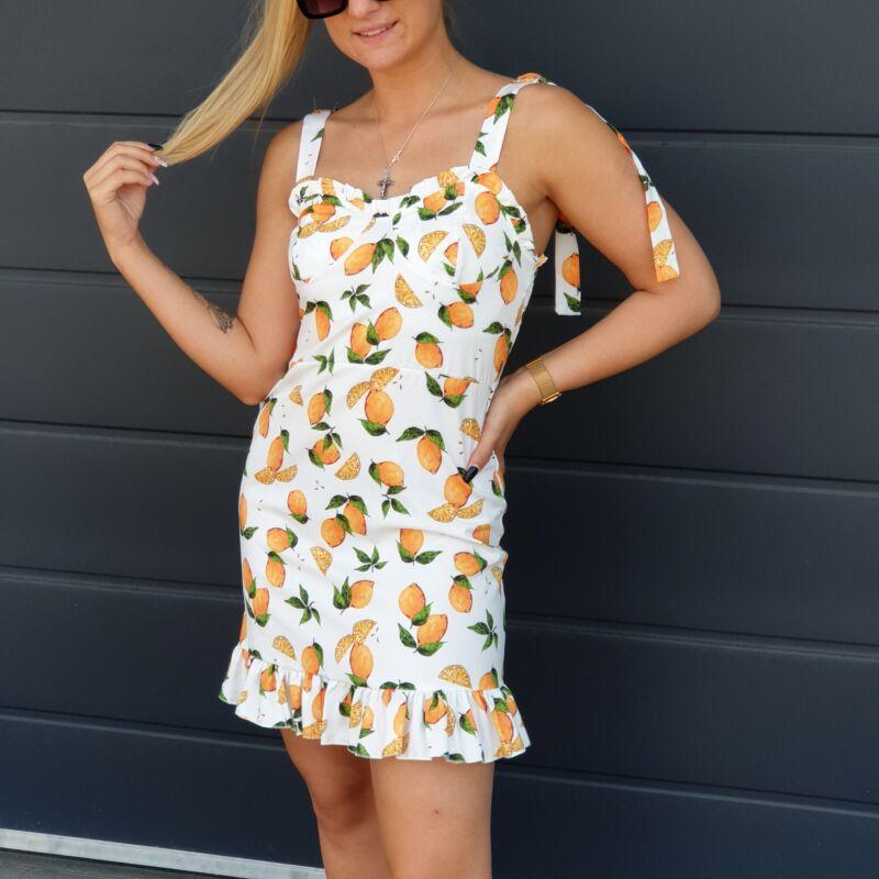 Vállán megkötős, narancs mintás nyári ruha