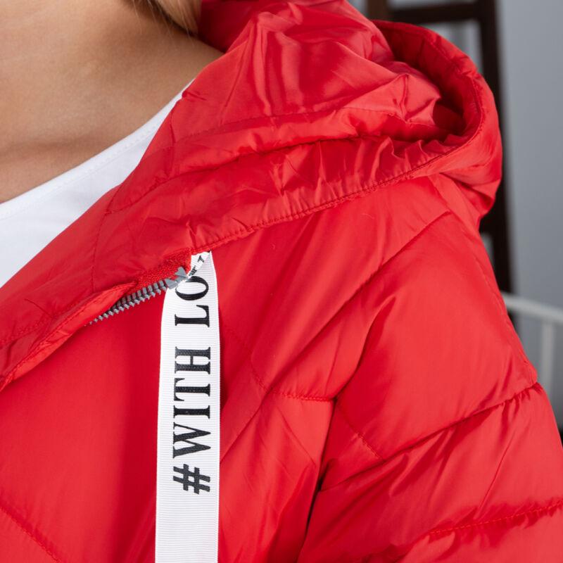 Kapucnis piros pufi kabát