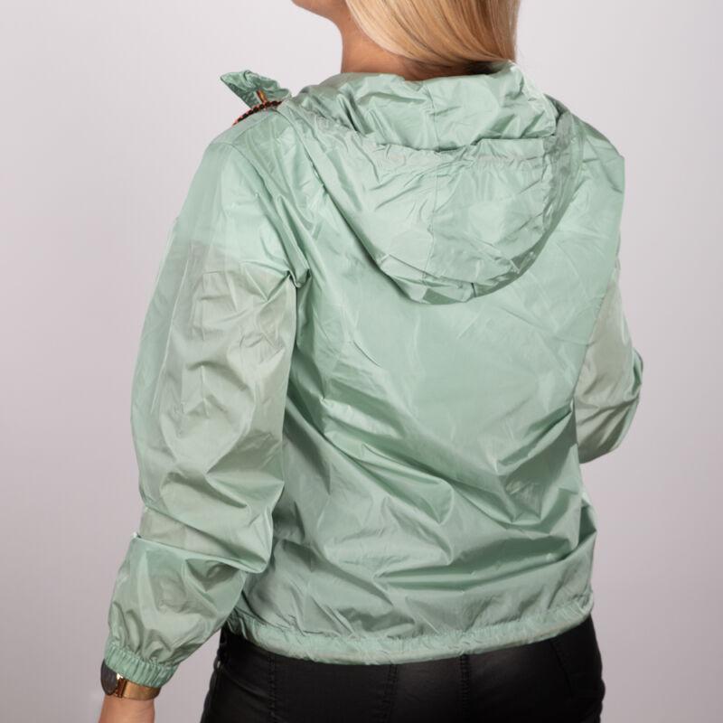 Cipzárnál színes, kapucnis dzseki