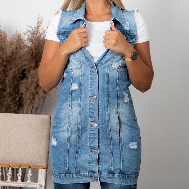 Szaggatott zsebes farmer ruha / mellény