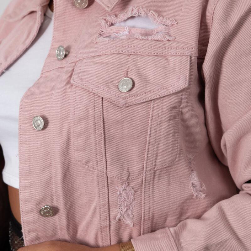 Rózsaszín, szaggatott farmerdzseki