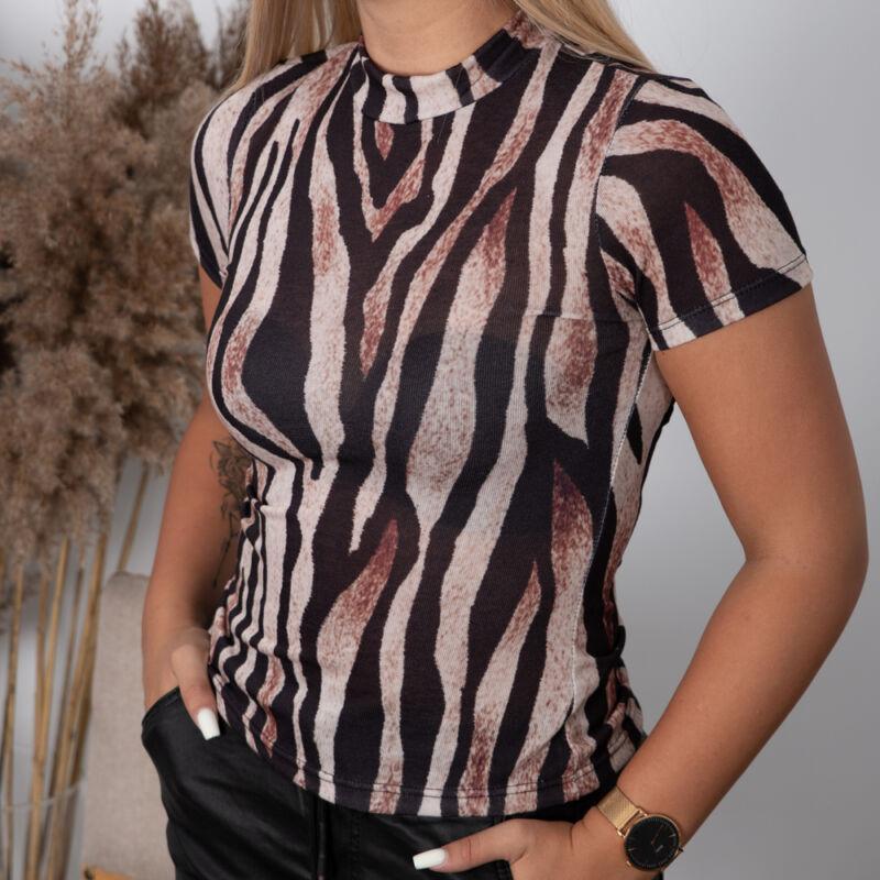 Félgarbós, zebra mintás póló