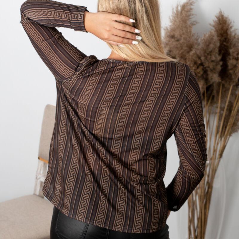 V kivágású vékony hosszú ujjú pulóver