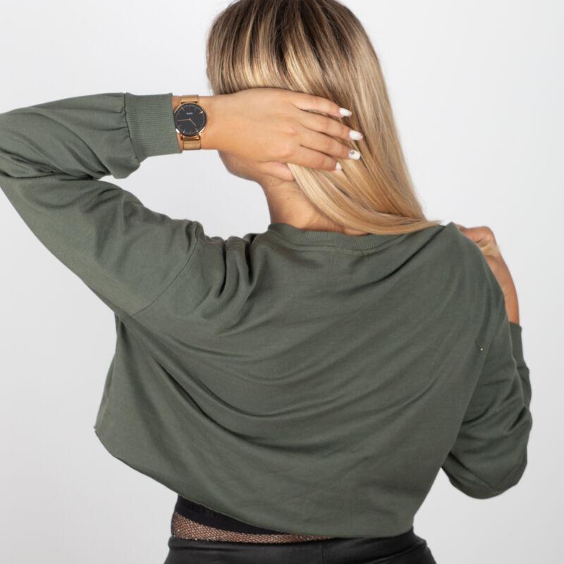Laza, feliratos hosszú ujjú pulóver