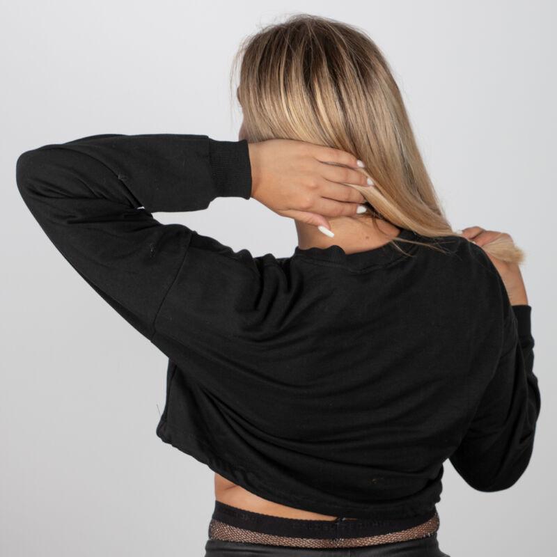 Smiley mintás, rövidített fazonú pulóver