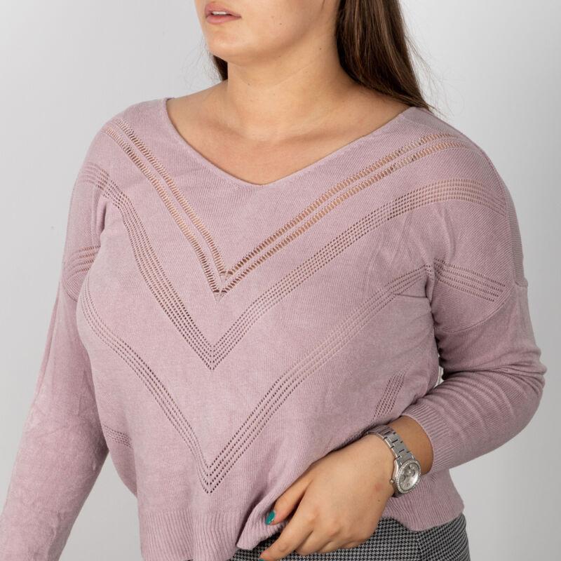 V alakban lyukacsos, finomkötött pulóver