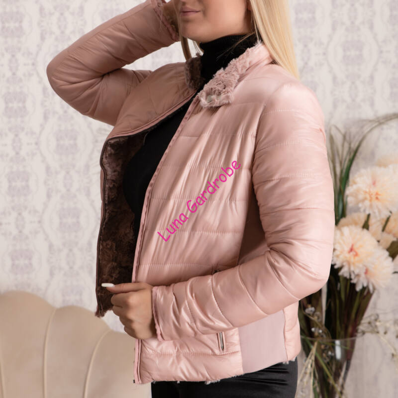 Kifordítható 2in1 kabát, puha szőrmés