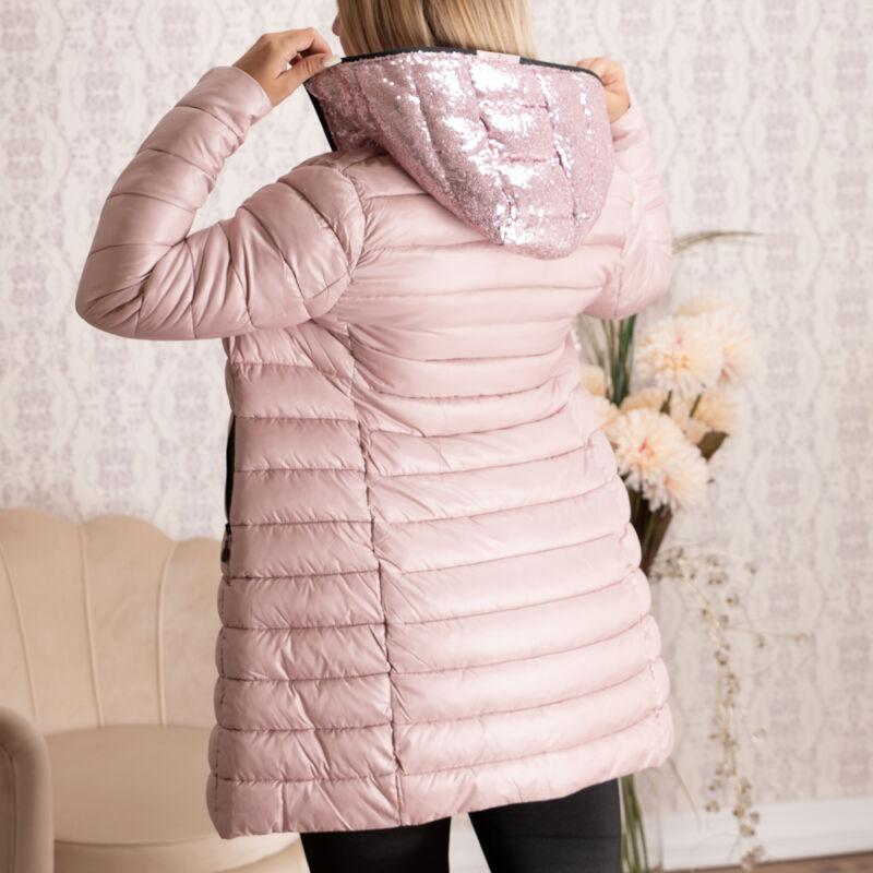 Kapucniján flitteres, steppelt rózsaszín kabát