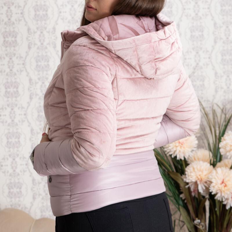 Rózsaszín, velúros, alul steppelt kabát