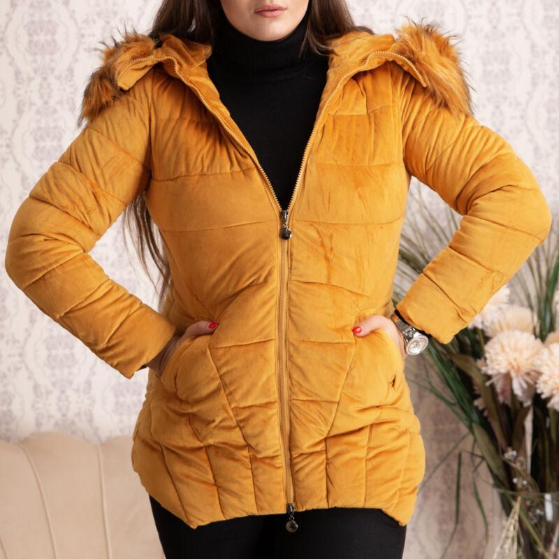 Bársony, steppelt, szőrmés, hosszított kabát