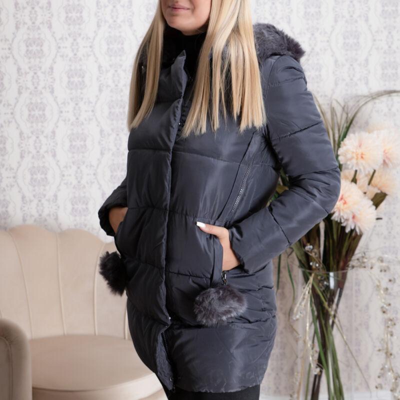 Hosszított szőrmés, kapucnis, + bojtos kabát