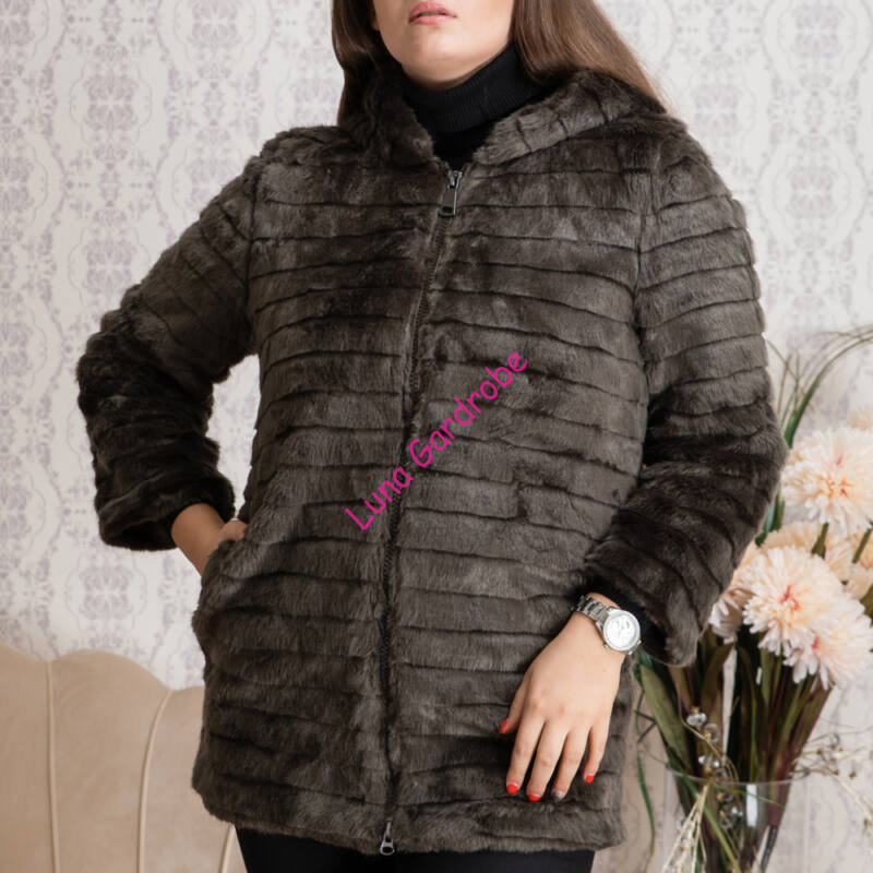 Hosszított puha szőrmés kabát