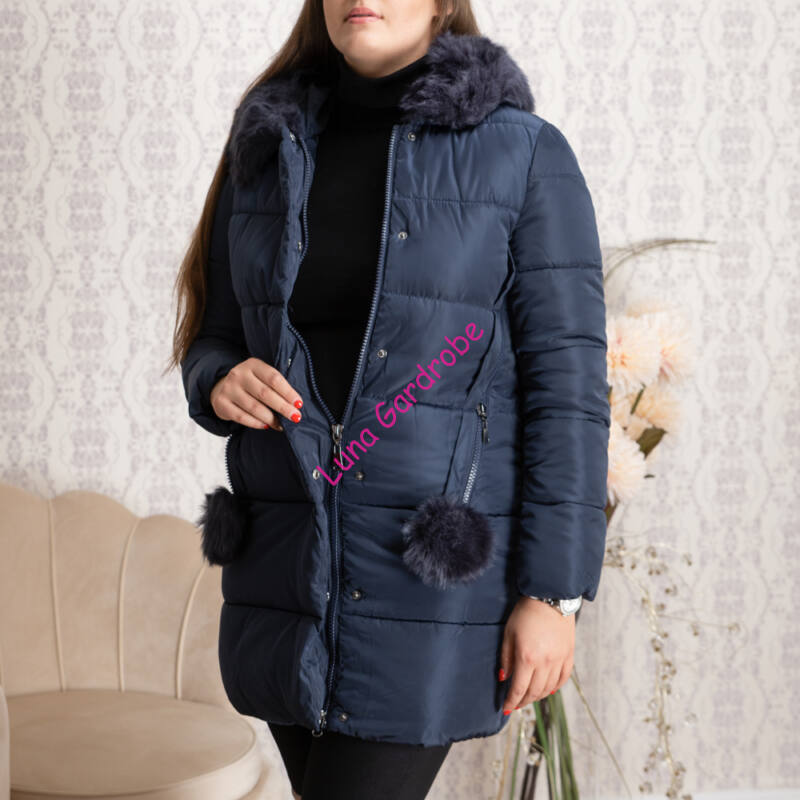 Szőrmés kapucnis + bojtos, hosszított kabát