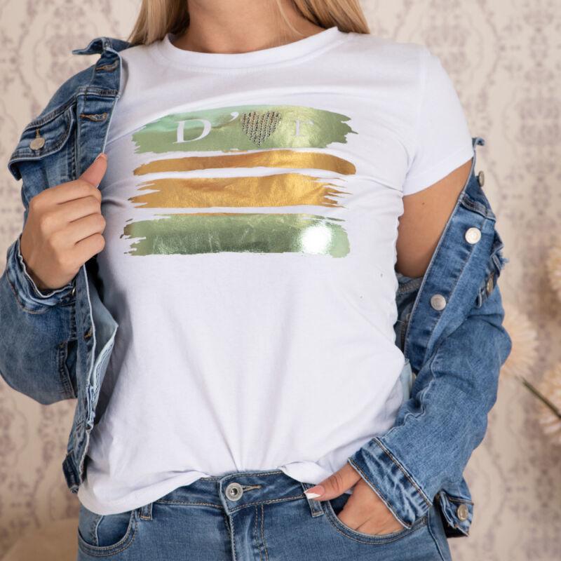 Fényes feliratos pamut póló