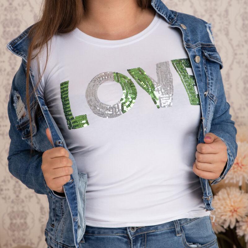 Flitteres, LOVE feliratos pamut póló