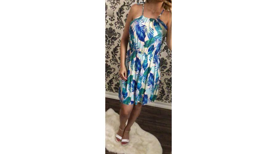 ac43b7404a Kék leveles, deréknál gumis ruha - Ruha - Luna Gardrobe Női ruha ...