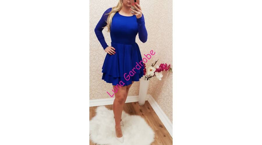 0150ca3c28 Pretty Women királykék, fodros ruha - Ruha - Luna Gardrobe Női ruha ...